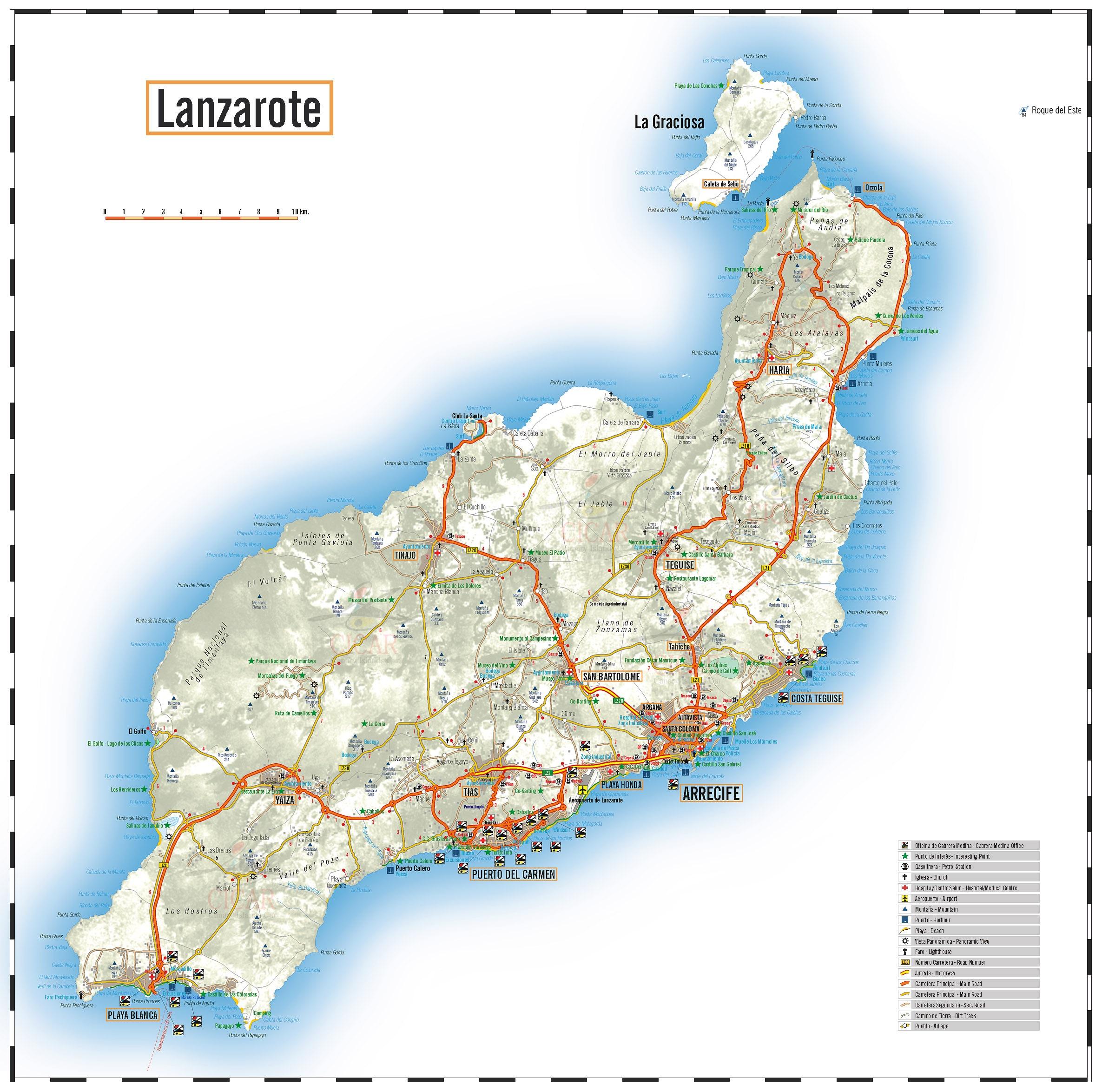 Spagna E Isole Canarie Cartina Geografica.Carta Stradale Isole Lanzarote In Alta Definizione Isole Canarie Spagna
